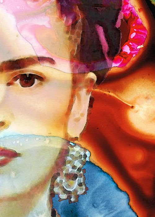Frida Kahlo Greeting Card featuring the painting Frida Kahlo Art - Seeing Color by Sharon Cummings