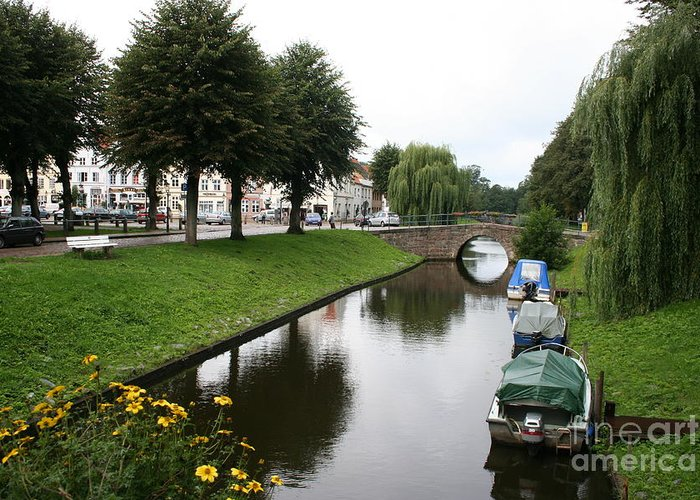 Town Canal Greeting Card featuring the photograph Friedrichstadt - Germany by Christiane Schulze Art And Photography