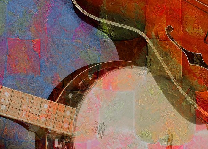 Acoustic Greeting Card featuring the photograph Friends Again Digital Banjo And Guitar Art By Steven Langston by Steven Lebron Langston