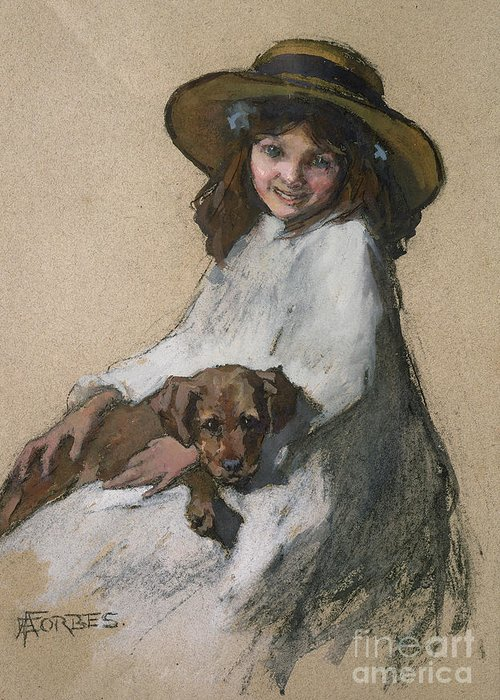 Female Greeting Card featuring the painting Friends by Elizabeth Adela Stanhope Forbes