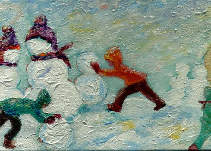 Kids Building Snow People Greeting Card featuring the painting Friends Making Friends by Naomi Gerrard