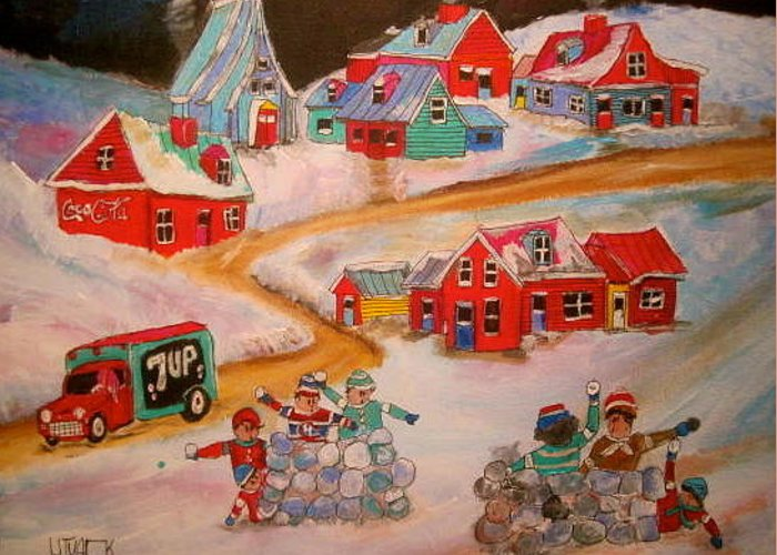 Snowball Fight Greeting Card featuring the painting Friend's Snowball Fight Montreal Memories by Michael Litvack