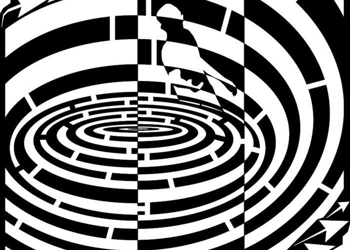 Frisbee Greeting Card featuring the drawing Frisbee Toss Maze by Yonatan Frimer Maze Artist