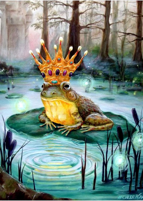 Frog Prince Greeting Card featuring the painting Frog Prince by Heather Calderon