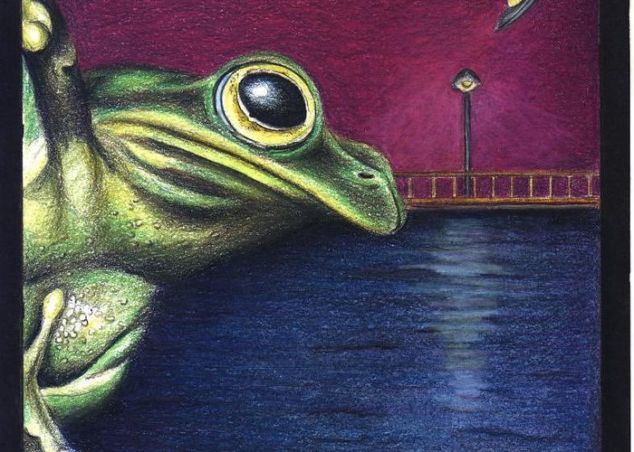 Greeting Card featuring the drawing Frog Wars by Michael Wellington