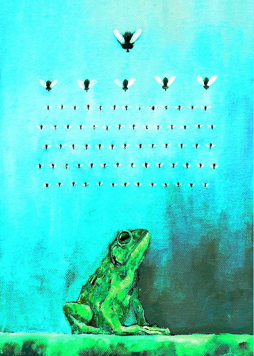 Frog Greeting Card featuring the painting Frog With Flies In Space Invaders Formation by Fabrizio Cassetta