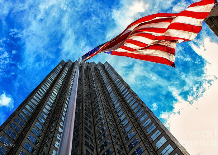 American Flag Greeting Card featuring the photograph From A Different Perspective II by Rene Triay Photography