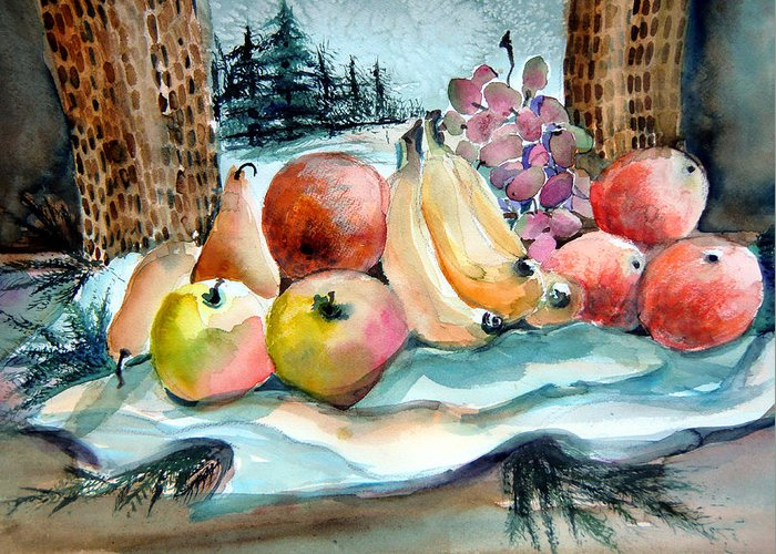 Fruit Greeting Card featuring the painting From My Window by Mindy Newman