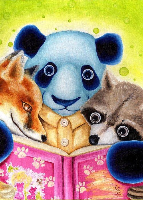 Panda Illustration Greeting Card featuring the painting From Okin The Panda Illustration 10 by Hiroko Sakai