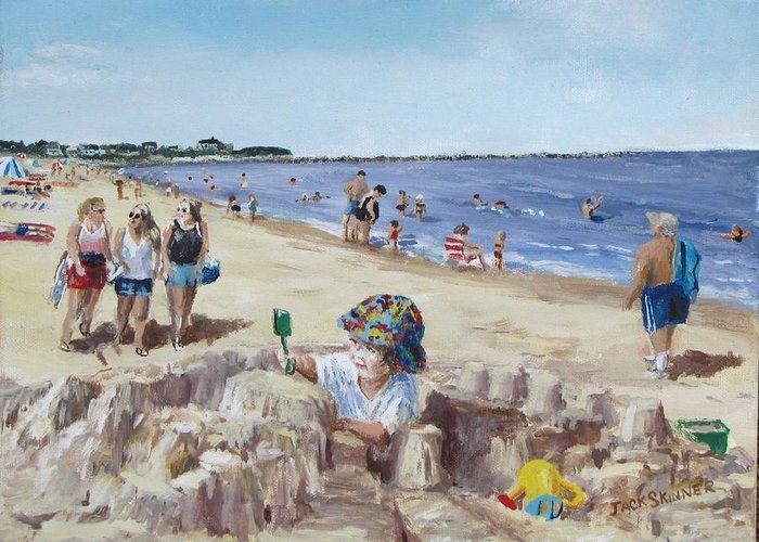 Beach Greeting Card featuring the painting From Sandcastles To College by Jack Skinner