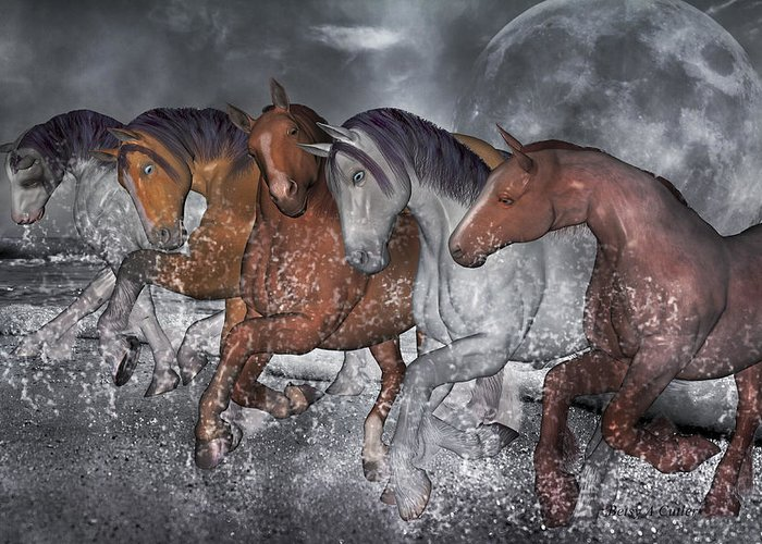 Horse Greeting Card featuring the digital art From The Sea by Betsy Knapp