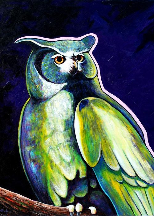 Owl Greeting Card featuring the painting From the Shadows by Joe Triano