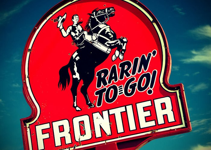 Old Signs Greeting Card featuring the photograph Frontier Land by Tony Santo