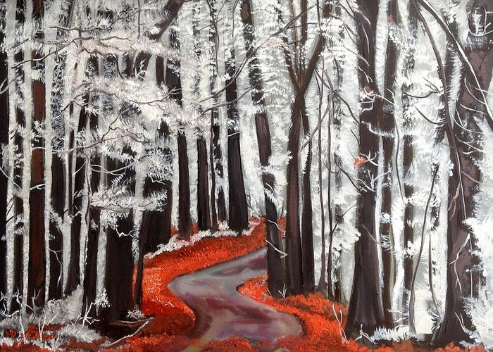 Landscape Greeting Card featuring the painting Frosty Autumn by Suzanne Norgress Harris