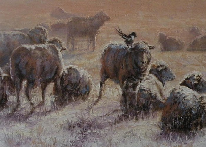 Sheep Greeting Card featuring the painting Frosty Morning by Mia DeLode