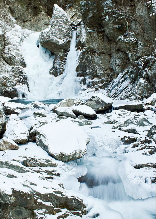 Waterfall Greeting Card featuring the photograph Frozen Bash Bish Falls by Katherine Hawkins