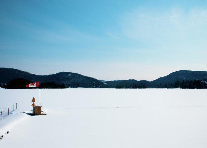 Scenics Greeting Card featuring the photograph Frozen Lake In Canada by Haja Rasambainarivo