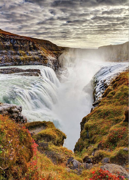 Scenics Greeting Card featuring the photograph Frozen Mist On Autumn Day At Gullfoss by Anna Gorin