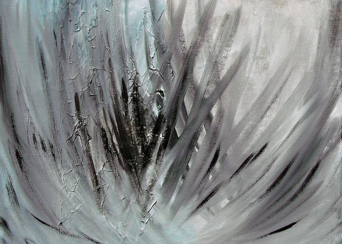 Abstract Greeting Card featuring the painting Frozen by Sergey Bezhinets