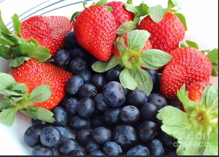 Fruit Greeting Card featuring the photograph Fruit 2- Strawberries - Blueberries by Barbara Griffin
