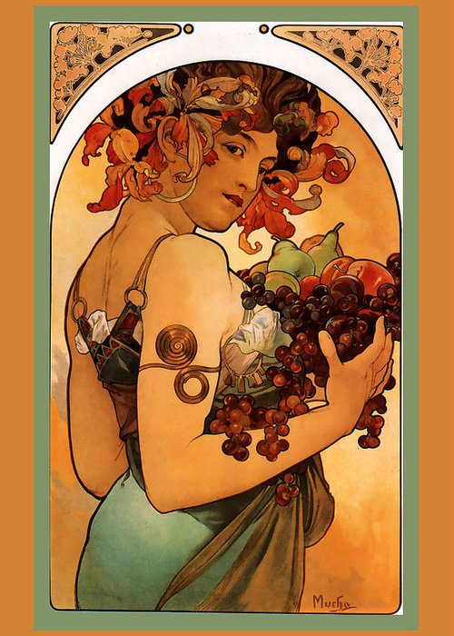 Fruit Greeting Card featuring the digital art Fruit by Alphonse Maria Mucha