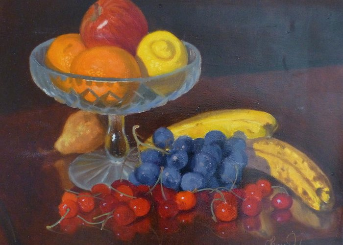Still Life Greeting Card featuring the painting Fruit And Glass by Terry Perham