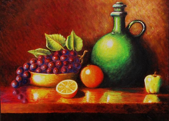 Still Life... Jug Greeting Card featuring the painting Fruit And Jug by Gene Gregory