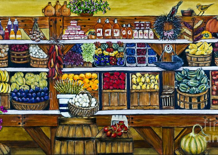 Market Greeting Card featuring the painting Fruit And Vegetable Market By Alison Tave by Sheldon Kralstein