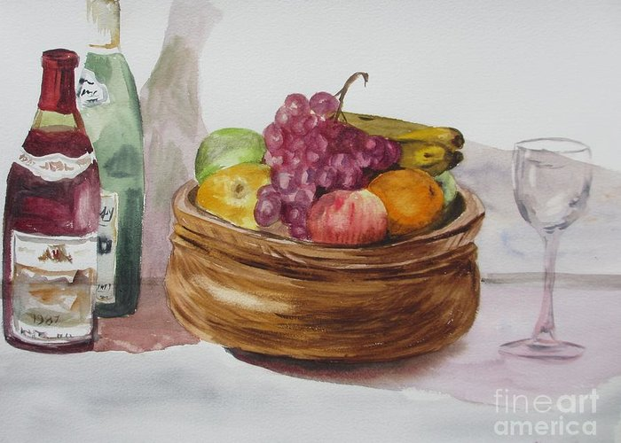 Fruit And Wine Greeting Card featuring the painting Fruit And Wine by Martin Howard