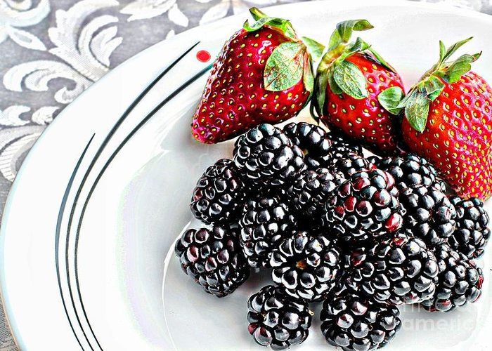 Fruit Greeting Card featuring the photograph Fruit I - Strawberries - Blackberries by Barbara Griffin