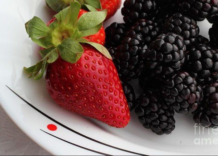 Fruit Greeting Card featuring the photograph Fruit II - Strawberries - Blackberries by Barbara Griffin