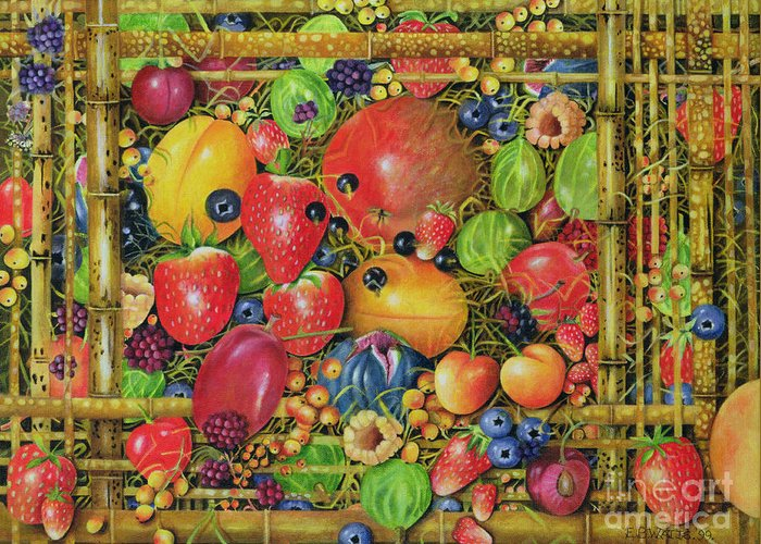 Still Life Greeting Card featuring the painting Fruit In Bamboo Box by EB Watts