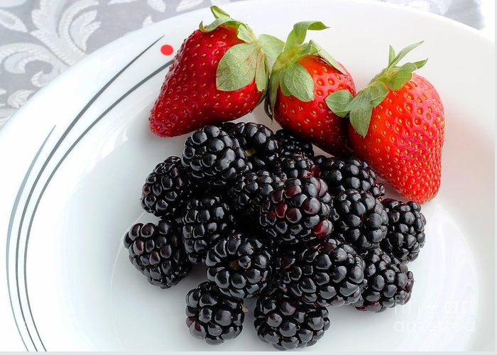 Fruit Greeting Card featuring the photograph Fruit Iv - Strawberries - Blackberries by Barbara Griffin