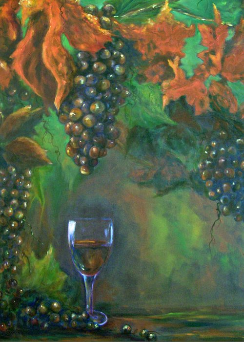 Grapes Greeting Card featuring the painting Fruit Of The Vine by Sandra Cutrer