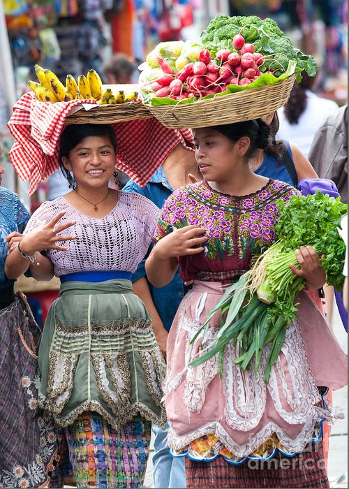 Colorful Greeting Card featuring the photograph Fruit Sellers In Antigua Guatemala by David Smith