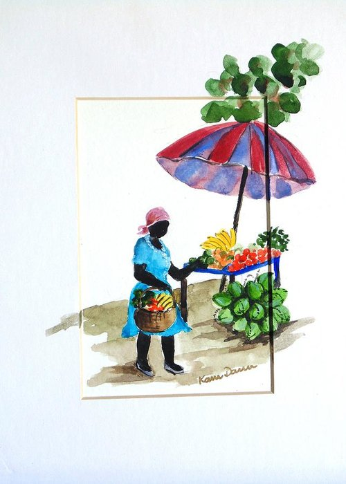 Fruit Vender Greeting Card featuring the painting Fruit Stand by Karin Dawn Kelshall- Best