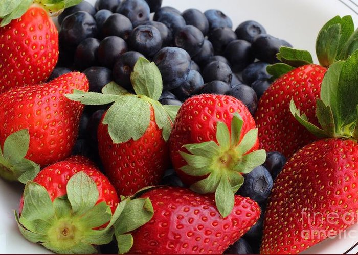 Fruit Greeting Card featuring the photograph Fruit - Strawberries - Blueberries by Barbara Griffin