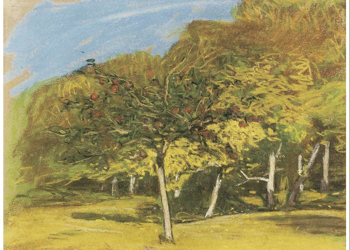 Fruit Trees Greeting Card featuring the painting Fruit Trees by Claude Monet