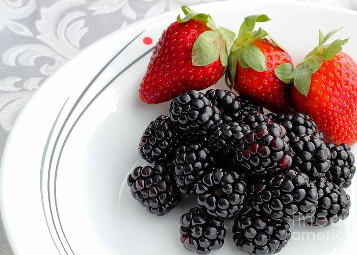 Fruit Greeting Card featuring the photograph Fruit V - Strawberries - Blackberries by Barbara Griffin