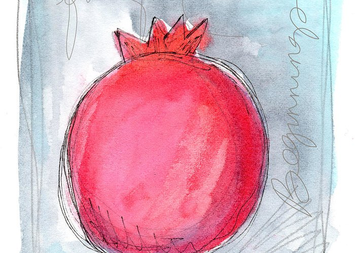 Pomegranate Greeting Card featuring the painting Fruitful Beginning by Linda Woods