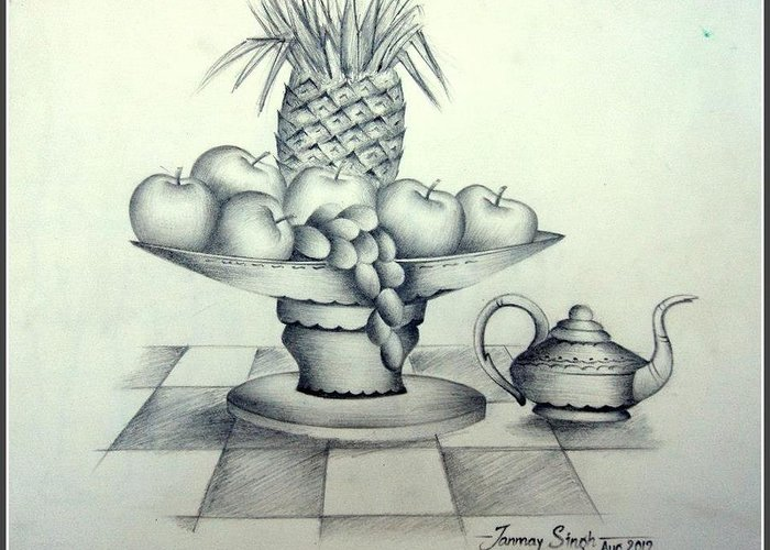 Fruits Greeting Card featuring the drawing Fruits In Basket by Tanmay Singh