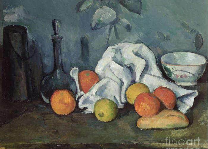 Post-impressionist Greeting Card featuring the painting Fruits by Paul Cezanne