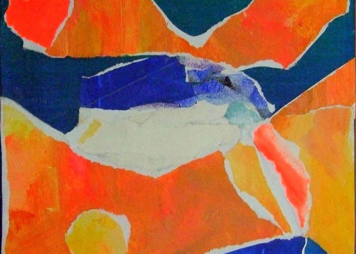 Abstract Mixed Acrylic Media On Canvas Greeting Card featuring the mixed media Fugue by Diane Fine