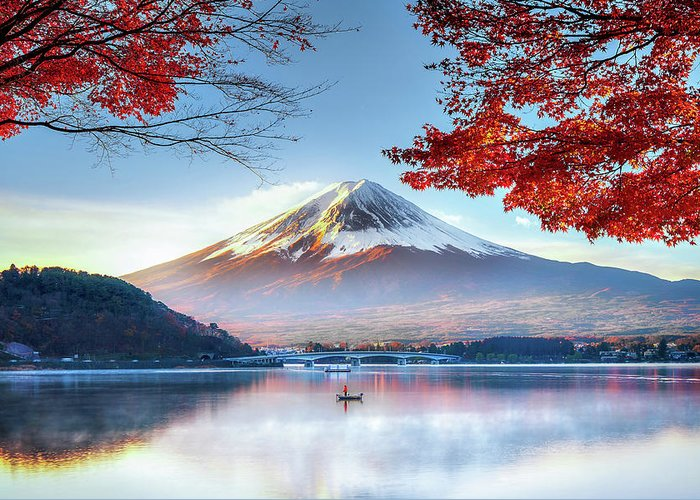 Snow Greeting Card featuring the photograph Fuji Mountain In Autumn by Doctoregg
