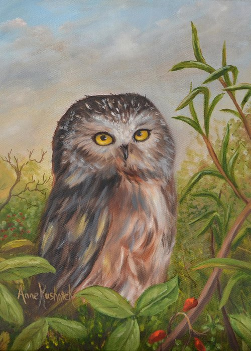 Owls Greeting Card featuring the painting Fukuro by Anne Kushnick