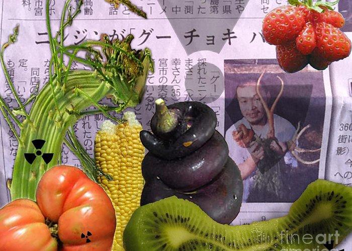 Asparagus Greeting Card featuring the digital art Fukushima Veggies by Megan Dirsa-DuBois