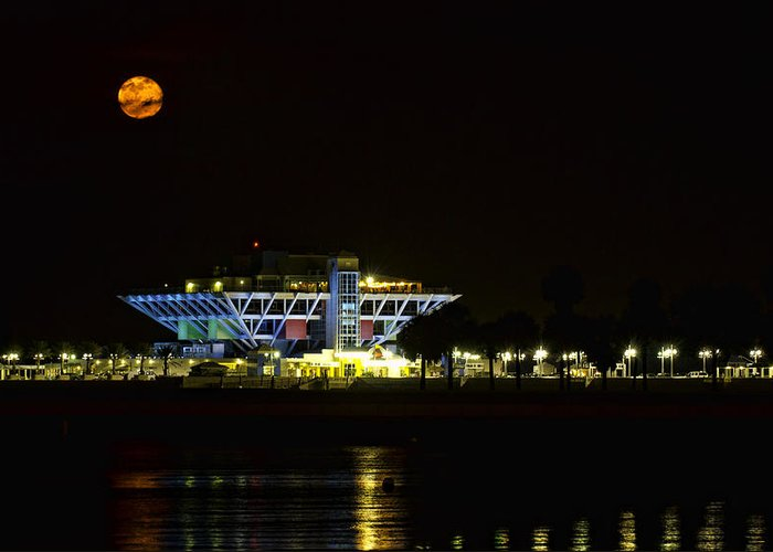 Full Blood Moon Greeting Card featuring the photograph Full Blood Moon Over The St. Petersburg Pier by Jay Droggitis