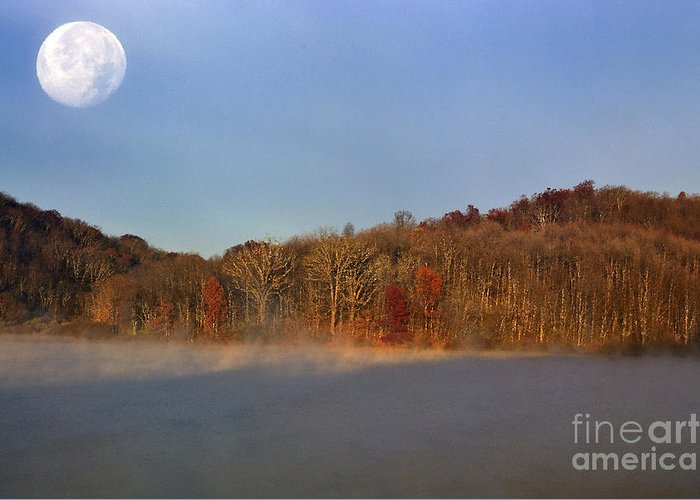 Full Moon Greeting Card featuring the photograph Full Moon Big Ditch Lake by Thomas R Fletcher