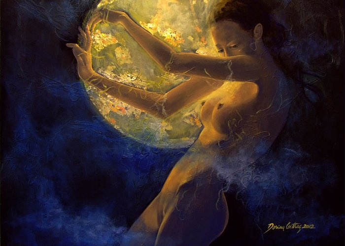 Woman Greeting Card featuring the painting Full Moon by Dorina Costras