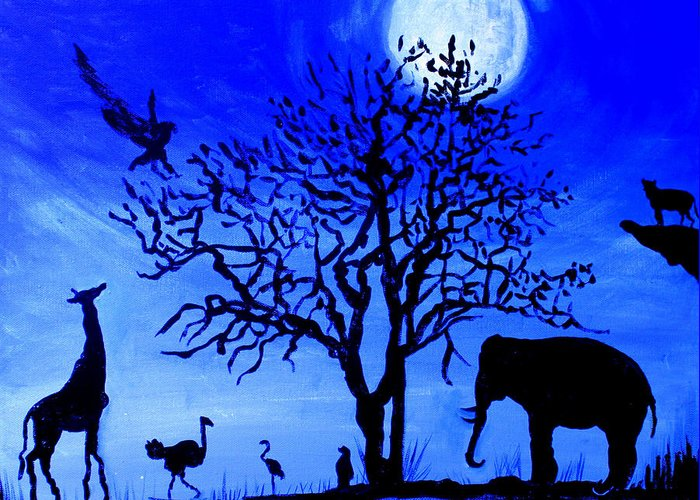 Beautiful Night With A Full Moon Greeting Card featuring the painting Full Moon in Africa by Pilar Martinez-Byrne